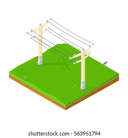 Isometric Power lines icon. Vector illustration of electrical power being supplied through transmission pylons.