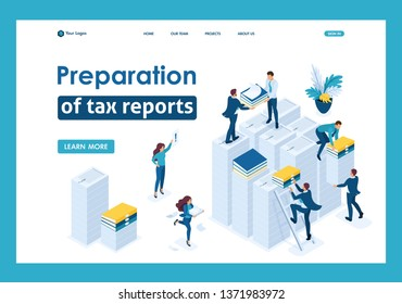 Isometric Preparation of tax reports, tax agents check the documents. Template Landing page