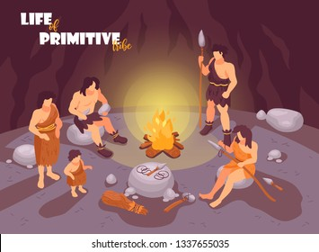 Isometric primitive people caveman composition with cave scenery bonfire and human characters of tribe family members vector illustration