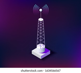isometric primitive telecommunication tower with connection waves, dark background. communication tower for network technologies