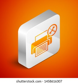 Isometric Printer with screwdriver and wrench icon isolated on orange background. Adjusting, service, setting, maintenance, repair, fixing. Silver square button. Vector Illustration