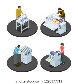 Isometric printing house icons concept with digital rotary large format and offset production types vector illustration