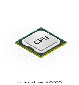 Isometric Processor Vector Illustration