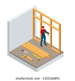 Isometric professional carpenters drilling wood. Construction building industry, new home, construction interior. Lumber, timber materials. Vector illustration