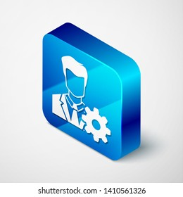 Isometric Profile settings icon isolated on white background. User setting icon. Profile Avatar with cogwheel sign. Account icon. Male person silhouette. Blue square button. Vector Illustration