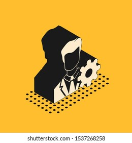 Isometric Profile settings icon isolated on yellow background. User setting icon. Profile Avatar with cogwheel. Account icon. Male person silhouette.  Vector Illustration