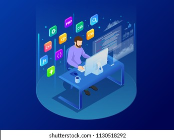 Isometric programmer coding new project sitting on computer with command line web development, programming concept banner Digital devices programmer creating website writing computer software