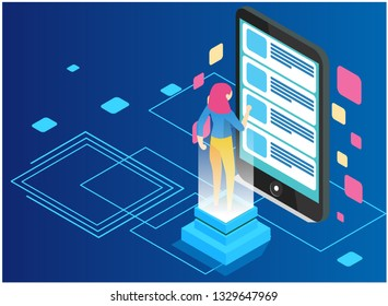 Isometric programmer working in a software develop company office. Developing programming and coding technologies concept. UX UI User Interface and User eXperience Process. - Vector