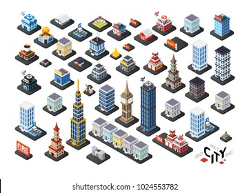 Isometric projection of 3D buildings, includes residential, office and municipal houses, color vector design elements