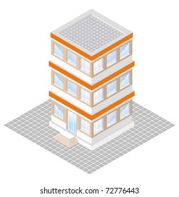 isometric projection of a three-storey building, isolated on white