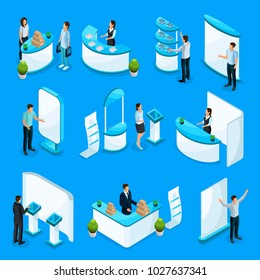 Isometric promotional stands collection with people advertise different products using demonstration equipment isolated vector illustration