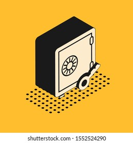 Isometric Proof of stake icon isolated on yellow background. Cryptocurrency economy and finance collection.  Vector Illustration