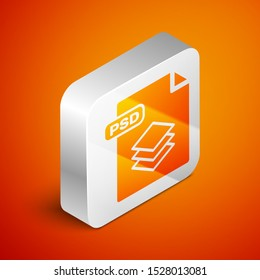 Isometric PSD file document. Download psd button icon isolated on orange background. PSD file symbol. Silver square button. Vector Illustration