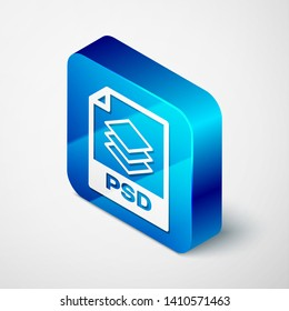 Isometric PSD file document icon. Download psd button icon isolated on white background. PSD file symbol. Blue square button. Vector Illustration