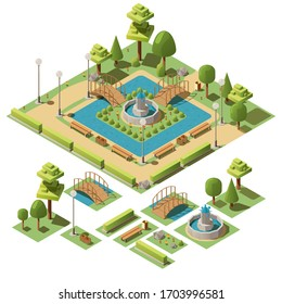Isometric  public city park for recreation with fountain, bridge, benches, trees, bushes, pond. Design elements for garden landscape. Urban green garden for walks, rest, relax. 3d vector illustration.