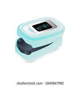 Isometric Pulse Oximeter Fingertip. Blood Oxygen Saturation Level Monitor with Heart Rate Detection, medical device icon, isolated on white background. Vector illustration.