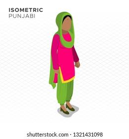 Isometric Punjabi Woman