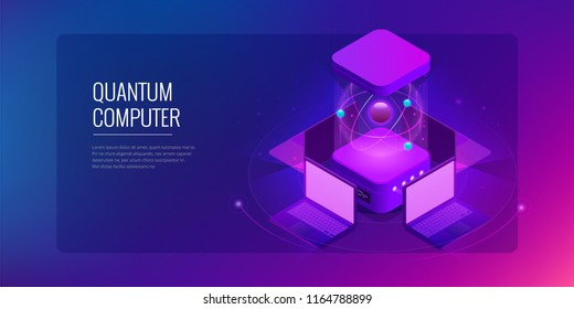 Isometric Quantum computing or Supercomputing. A quantum computer is a device that performs quantum computing. Vector illustration