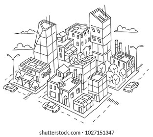 isometric quarter big city sketch. Skyscrapers and high-rise buildings. Home architecture city center. Hand drawn black line