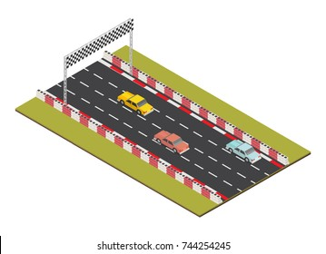 Isometric race track road with car finish.