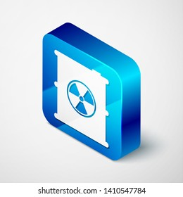 Isometric Radioactive waste in barrel icon isolated on white background. Toxic refuse keg. Radioactive garbage emissions, environmental pollution. Blue square button. Vector Illustration