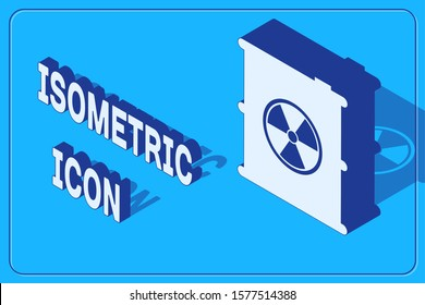 Isometric Radioactive waste in barrel icon isolated on blue background. Toxic refuse keg. Radioactive garbage emissions, environmental pollution.  Vector Illustration