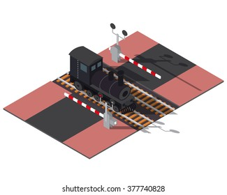 Isometric railway barriers and train. 3d building icon. City map elements