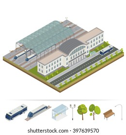 Isometric Railway Station Building with Terminal. City Train, Bus. Vector flat 3d illustration
