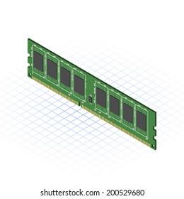 Isometric Random Access Memory Vector Illustration