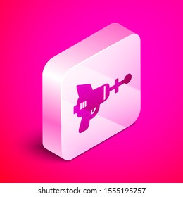 Isometric Ray gun icon isolated on pink background. Laser weapon. Space blaster. Silver square button. Vector Illustration
