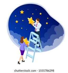 Isometric Reaching the Stars. Reach your dream, aspirations, and solutions. Businessman and Businesswoman steps onto the ladder pointing to the star. Business concept illustration
