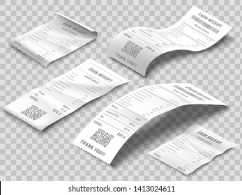 Isometric receipts bill. Printed billing receipt, payment bills and financial bank check print isolated realistic 3d vector set