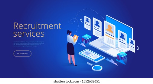 Isometric Recruiting concept. Business HR. Job agency human resources creative find experience. Easy to edit and customize landing page. Human resources manager hiring employee or workers for job.