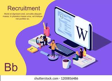 Isometric Recruitment Concept. Vector illustration for web page, banner, presentation, social media, documents, cards, posters.