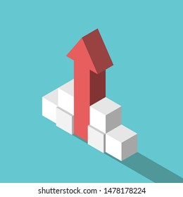Isometric red arrow going up supported by stacked cubes. Fast growth, risk management, investment, stability and caution concept. Flat design. EPS 8 vector illustration, no transparency, no gradients