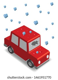 isometric red car, hailstorm, vector illustration