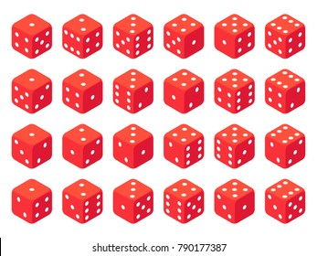 Isometric red dice isolated on white. Dice casino gambling set. Vector illustration