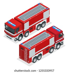 Isometric Red fire truck, vehicle of Emergency. Firefighters design element. Vector Illustration on a white background.