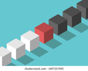 Isometric red mediator cube between white and black ones. Mediation, diplomacy, management, negotiation and arbitration concept. Flat design. EPS 8 vector illustration, no transparency, no gradients