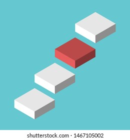 Isometric red next step in air among white ones on turquoise blue. Career, development, challenge and opportunity concept. Flat design. Eps 8 vector illustration, no transparency, no gradients