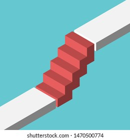 Isometric red steps bridging gap between two levels. Abrupt career ladder, sudden rise, growth and challenge concept. Flat design. EPS 8 vector illustration, no transparency, no gradients