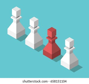Isometric red unique chess pawn in row of white ones on turquoise blue. Uniqueness, individuality, creativity concept. Flat design. EPS 8 compatible vector illustration, no transparency, no gradients