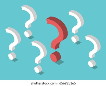 Isometric red unique question mark among many white ones on turquoise blue. Problem, priority and challenge concept. Flat design. EPS 8 compatible vector illustration, no transparency, no gradients