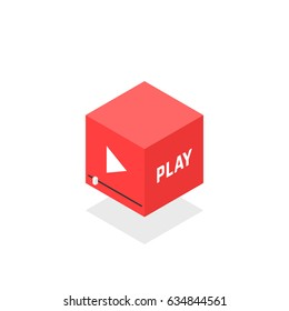isometric red video player icon. concept of streaming or broadcasting television popular symbol and entertainment emblem. flat style trend modern logotype graphic design isolated on white background