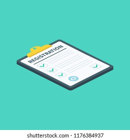 Isometric Registration clipboard with checklist. Man hold in hand clipboard agreement. Flat design, vector illustration on background.