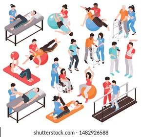 Isometric rehabilitation physiotherapy people set of isolated faceless characters of doctors and patients on blank background vector illustration