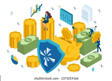 Isometric reliable protection of your money, bank deposit, security. Concept for web design.