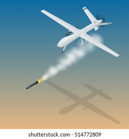Isometric Remote Control with a war drone U.A.V aircraft military mission isolated on background.