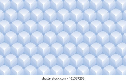 Isometric Repeating Cube Based Pattern Wallpaper - Light Blue Colored Elements on Dark Background - 3d Illusion Gradient Graphic