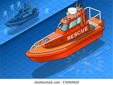 Isometric Rescue Boat in Navigation 3D Vector Illustration. Rescue Lifeboat Safety Ship Isometric Poster